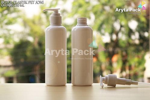 Botol plastik PET 250ml Joni putih susu tutup pump putih susu