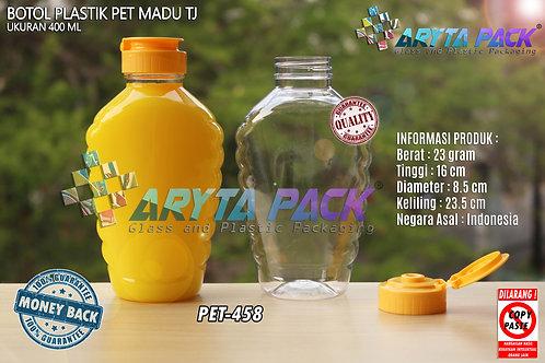 Botol plastik PET 400ml madu TJ tutup flip top