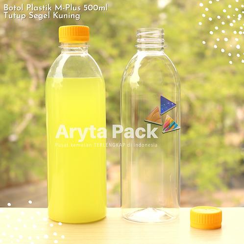 Botol plastik minuman 500ml M-plus tutup kuning segel