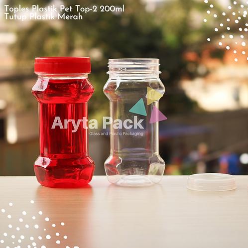 Toples plastik PET 200ml TOP-2 tutup merah
