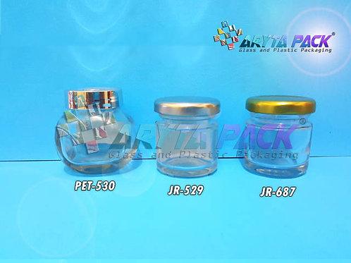 Jar kaca 45ml gepeng tutup plastik silver new
