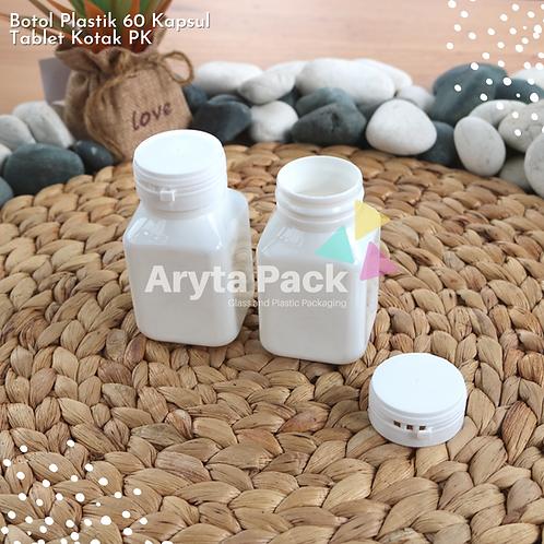 Botol plastik PET 60 kapsul tablet kotak putih susu