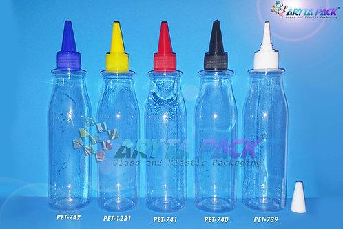 Botol plastik PET 250ml Amos tutup tinta kuning