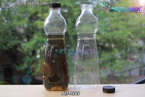 Botol plastik minuman 500ml sabun cair tutup ulir coklat