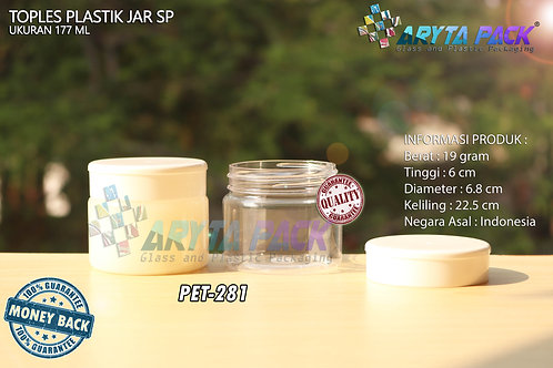 Toples plastik PET jar SP 177ml tutup putih