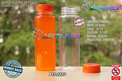 Botol plastik minuman 250ml jus kale sase tutup segel orange