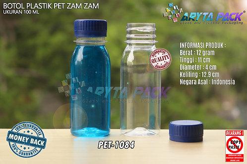 Botol plastik PET 100ml zam-zam tutup segel biru