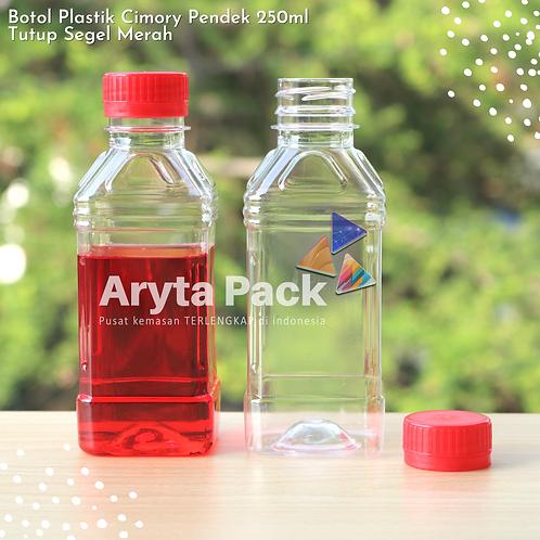 Botol plastik minuman 250ml cimory pendek tutup segel merah