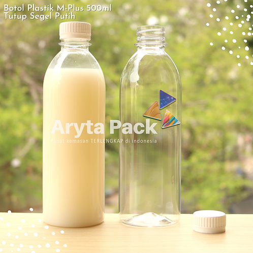 Botol plastik minuman 500ml M-plus tutup putih segel