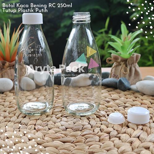 Botol kaca bening 250ml RC second tutup plastik putih/hitam