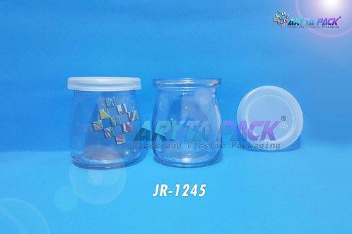 Jar kaca 200ml puding pendek tutup plastik dop new