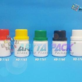 Botol plastik HDPE 50ml labor putih susu tutup merah