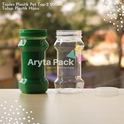 Toples plastik PET 200ml TOP-2 tutup hijau