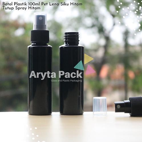 Botol plastik PET Lena siku hitam 100ml tutup spray hitam