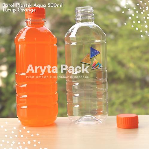 Botol plastik pet 500ml aqua tutup segel orange