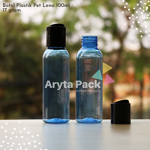 Botol plastik PET Lena 100ml  biru tutup press on hitam