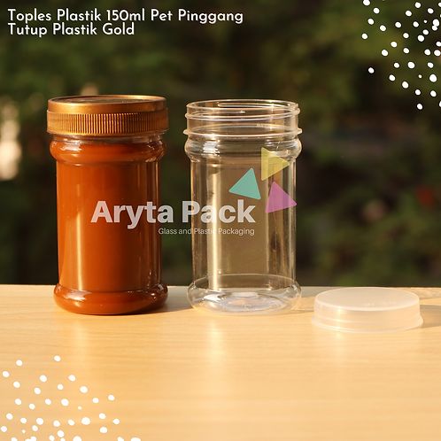 Toples plastik PET 150ml pinggang tutup gold
