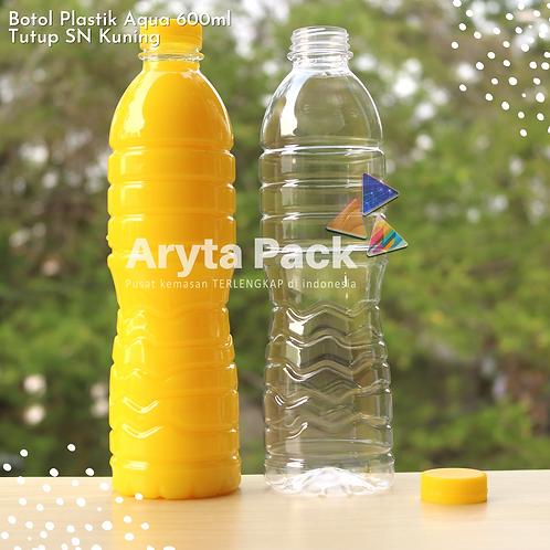 Botol plastik pet 600ml aqua tutup segel pendek kuning