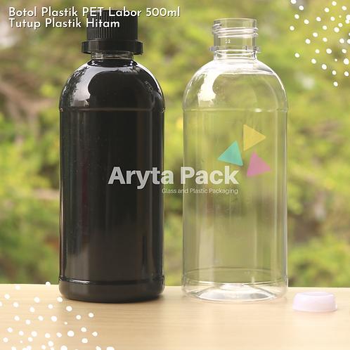 Botol plastik PET 500ml labor tutup segel hitam