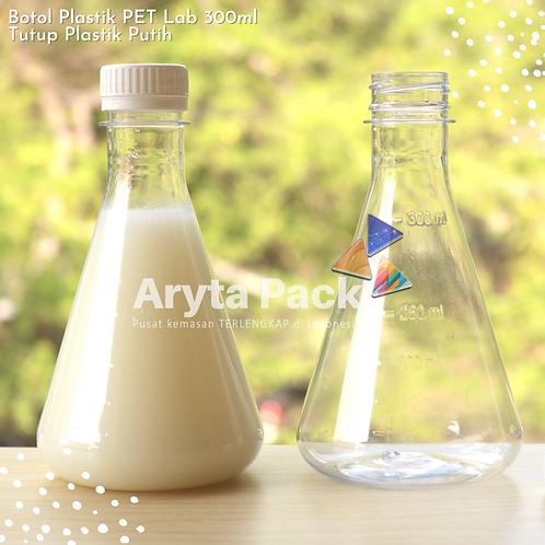 Botol plastik minuman 300ml lab tutup segel putih