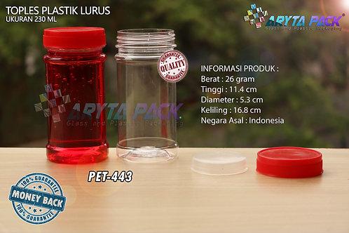 Toples plastik PET 230ml lurus tutup merah