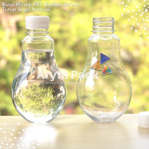 Botol plastik minuman bohlam 320ml tutup tinggi natural segel