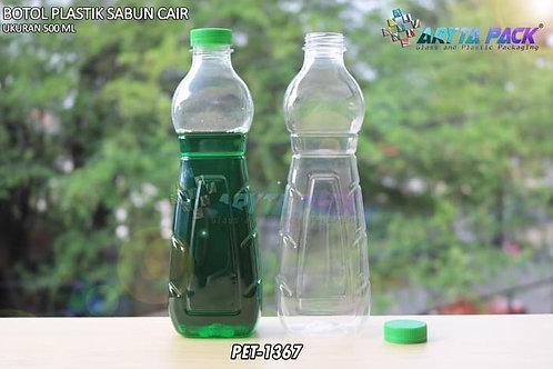 Botol plastik minuman 500ml sabun cair tutup ulir hijau