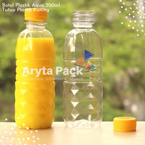 Botol plastik pet 300ml aqua tutup segel kuning