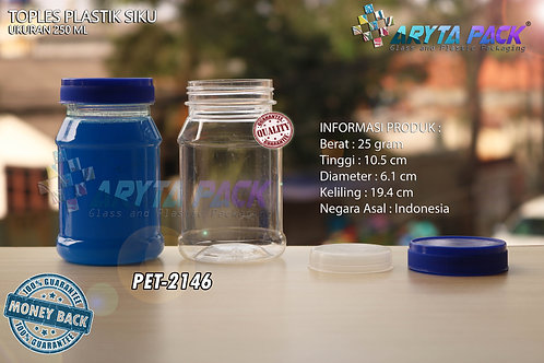 Toples plastik PET 250ml siku tutup biru