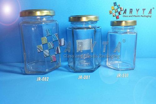 Jar kaca 100ml hexagonal tutup kaleng emas new