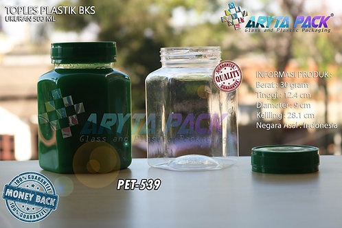 Toples plastik PET 500ml BKS tutup hijau