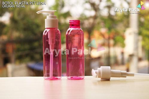 Botol plastik PET 100ml Lena pink tutup pump putih susu