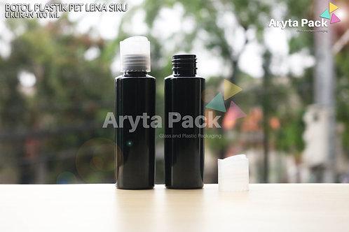 Botol plastik PET Lena siku 100ml hitam tutup press on natural