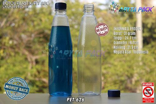 Botol plastik minuman 630ml ABC tutup segel biru