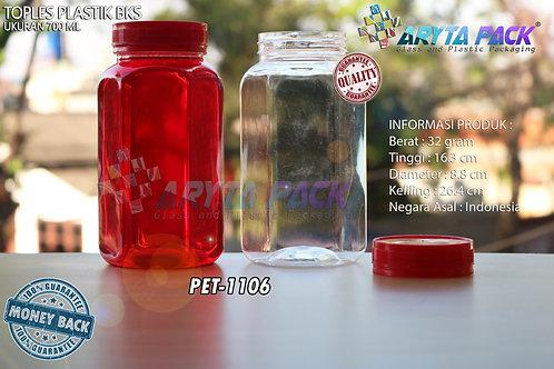 Toples plastik PET 700ml BKS tutup merah