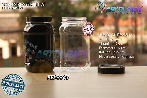 Toples plastik PET 450ml bulat tutup hitam