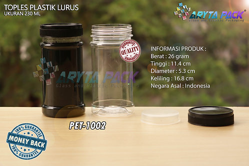 Toples plastik PET 230ml lurus tutup hitam