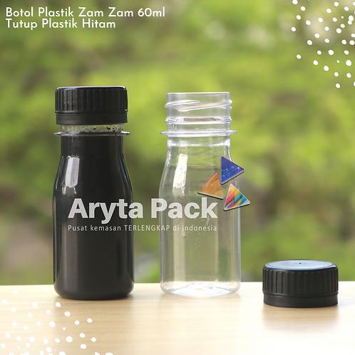 Botol plastik PET 60ml zam-zam tutup segel hitam