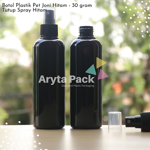 Botol plastik PET 250ml joni hitam tutup spray hitam