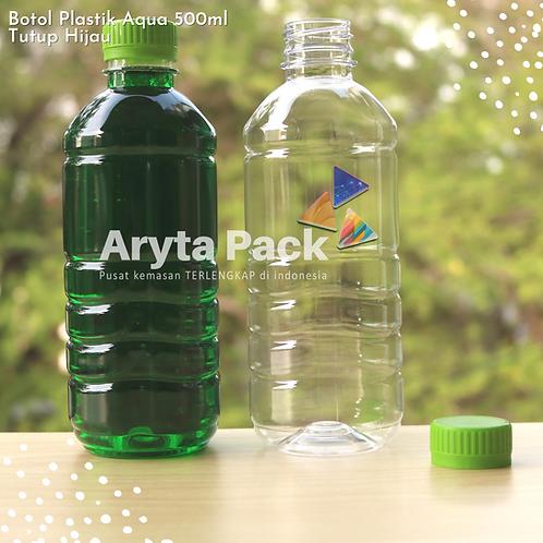 Botol plastik pet 500ml aqua tutup segel hijau