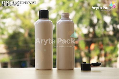 Botol plastik PET Joni 250ml putih susu tutup flip top hitam