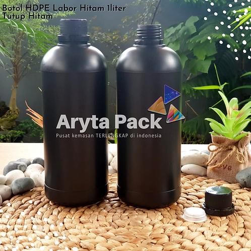 Botol plastik HDPE 1 liter labor hitam tutup hitam