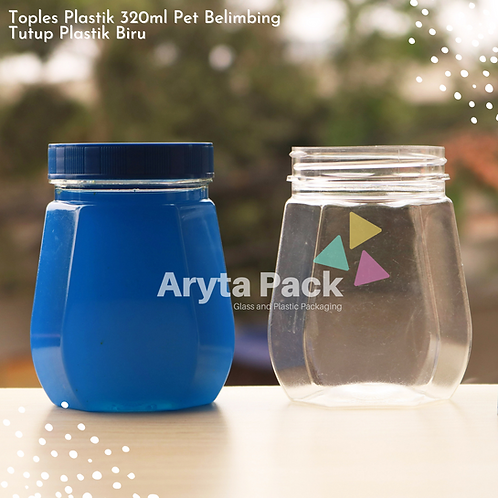 Toples plastik PET 320ml Belimbing tutup biru