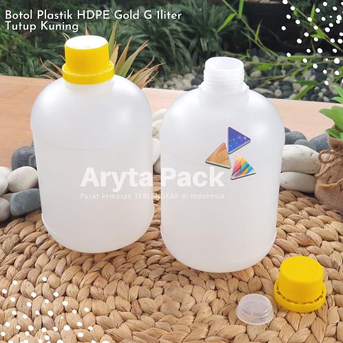 Botol plastik HDPE 1 liter gold G tutup kuning