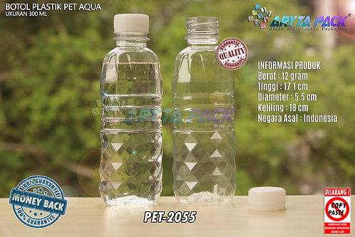 Botol plastik pet 300ml aqua tutup segel natural