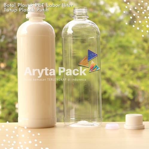 Botol plastik PET 1 Liter labor tutup segel putih