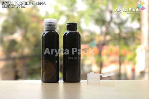 Botol plastik PET Lena 100ml  hitam tutup flip top natural