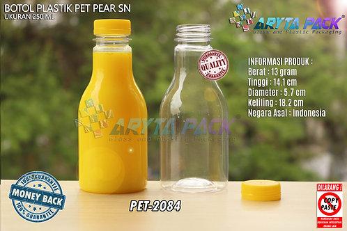 botol plastik minuman 250ml pear tutup segel pendek kuning
