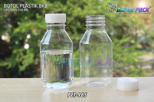 Botol plastik minuman 310ml BKB tutup segel natural
