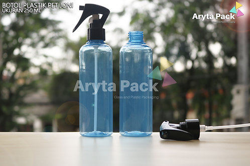 Botol plastik PET 250ml Joni biru tutup spray pistol hitam